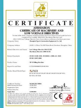 CE-Zertifikat der Füllmaschine